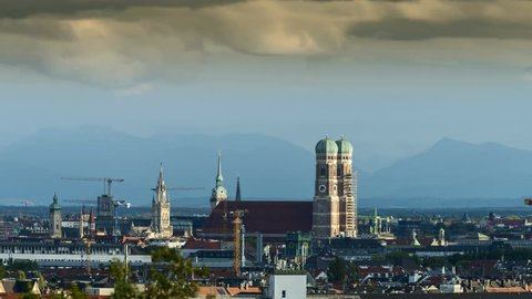Munich Cityscape timelapse view of Church of Our Lady (Frauenkirche) and Old Town. Munich City skyline aerial view.