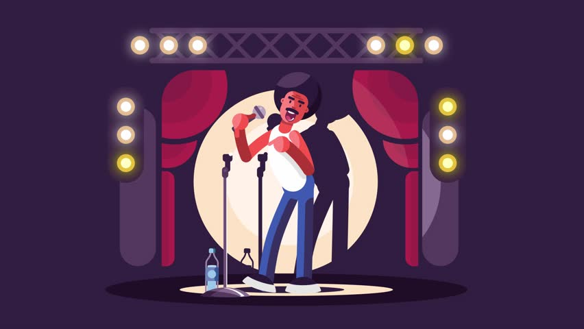 Standup show design flat. Man with microphone on stage animation
