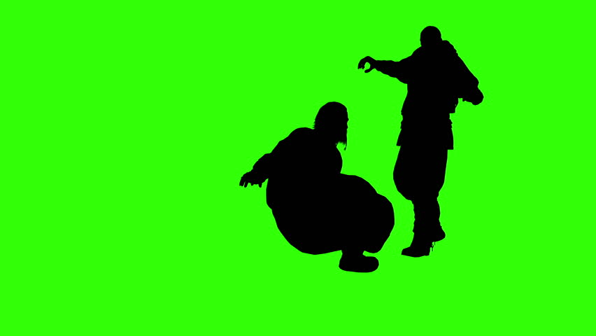 3d rendering animation - silhouettes of people physical confrontation  on green screen