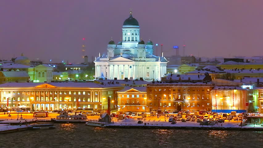 Winter night scenery of the Old Town in Helsinki, Finland - HD stock video clip