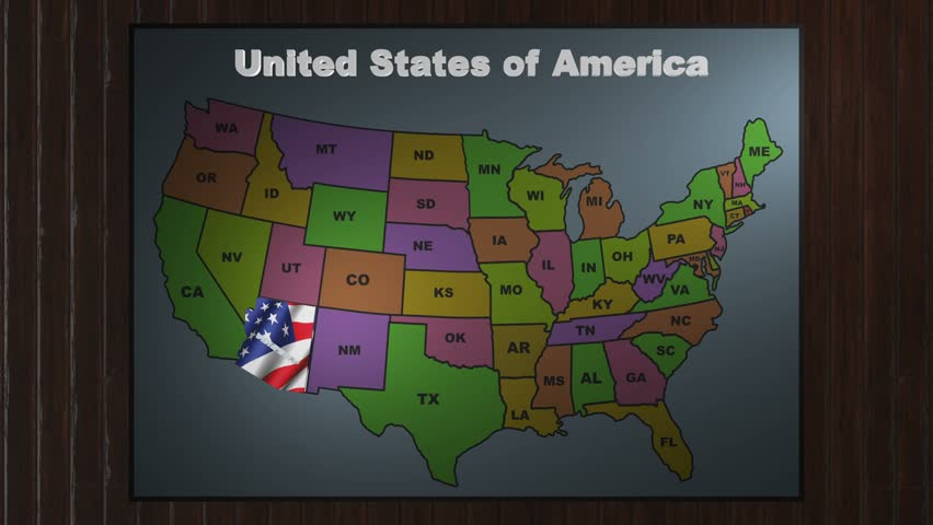4k0012Arizoma Pull Out From USA States Abbreviations Map