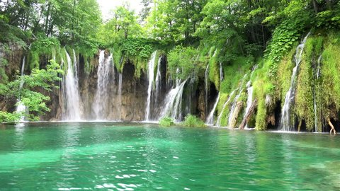 Amazing Landscape with Waterfalls at Plitvice Lakes National Park, Croatia. 4K Ultra HD 3840x2160 Video Clip