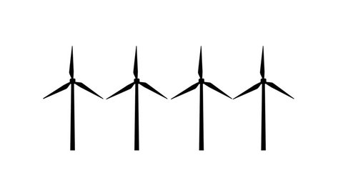 Loop animation of windmill silhouettes turning at the same time