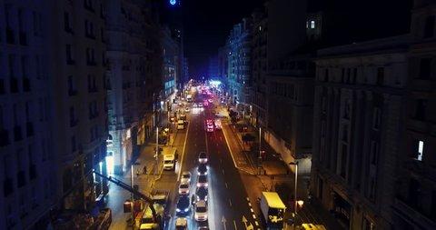 Night Grand Via in Madrid, drone