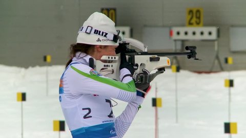 "SOCHI, RUSSIA - FEBRUARY 10,2013: Cup of Russia on biathlon. The combined ski-biathlon complex ""Laura""."