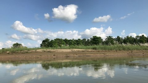 Beautiful river bank and jungle passing view from a moving boat in Chitwan National Park Nepal.
