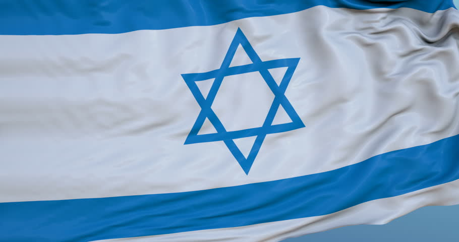 Seamlessly Looping flag for Israel, blowing beautifully in the wind. Slo-Motion. Available in 4K.