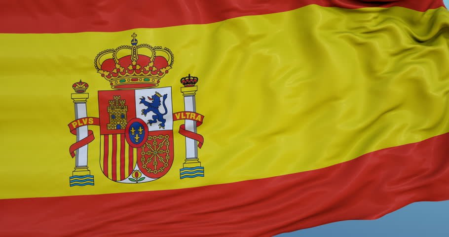 Seamlessly Looping flag for Spain , blowing beautifully in the wind. Slo-Motion. Available in 4K.