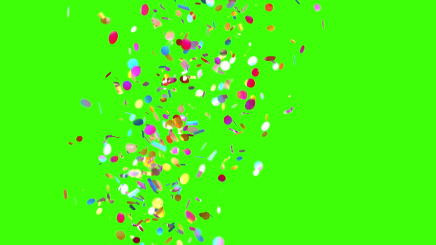 Confetti Party Popper Explosions on a Green Background. 3d animation, 4K.  #31664557