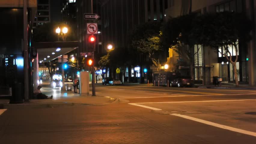 Quiet street in los angeles at night