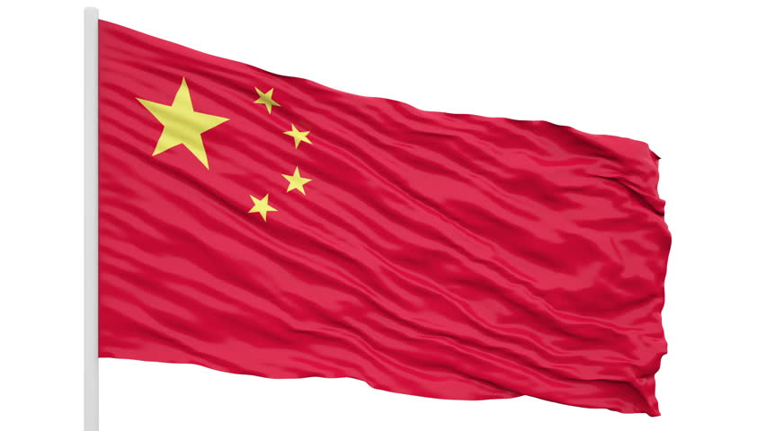 3d seamless looping of the China flag waving in the wind. Alpha mask included