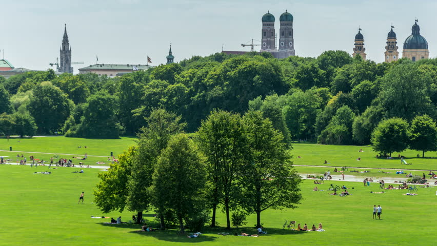 The Englischer Garten (English Garden) With Munich Skyline In The  Background. Stock Footage Video 31698607 | Shutterstock