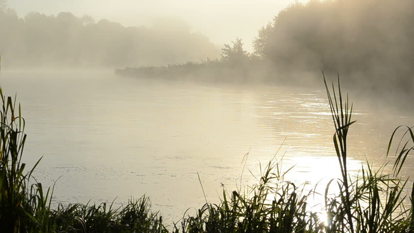 morning sunrise reflection in misty fog rise from flowing river water.