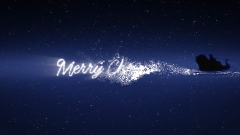 Blue xmas night with stars, Santa Claus sleight and reindeer silhouette flying showing merry christmas message with text space to place logo type or copy.Animated present greeting post card 4k video