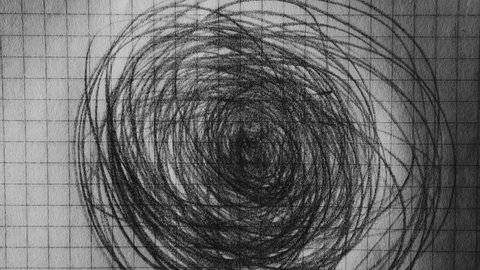 Bizarre loopable painting. Pencil scribble on paper. Dark psycho horror concept.