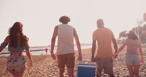 Young multi-ethnic hipster friends preparing for summer picnic party carrying cooler box on the beach