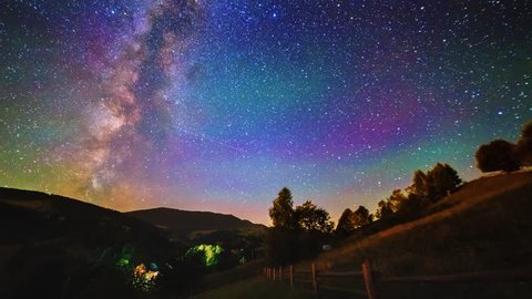 The Milky Way galaxy moving in night sky over the mountain range and hills timelapse, 4K