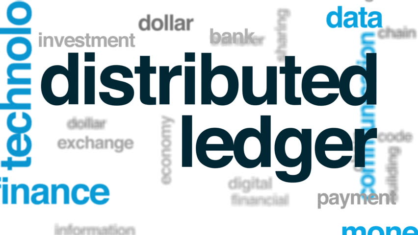 Distributed ledger animated word cloud, text design animation.