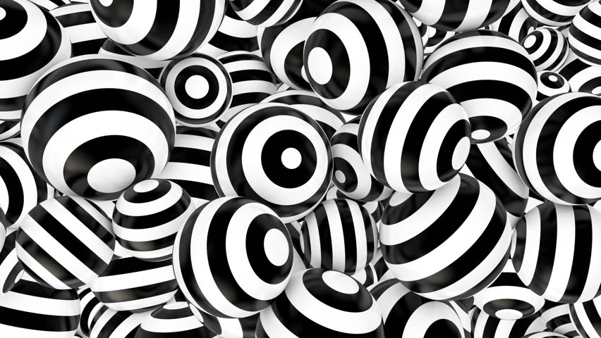 Animated spheres with white and black hypnotic stripes. Seamless loop. 4K, UHD, Ultra HD resolution.