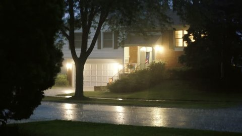 Hard Rain in the night with lightning in the suburbs