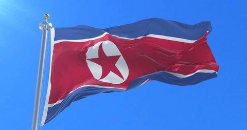 Flag of North Korea waving at wind with blue sky, loop