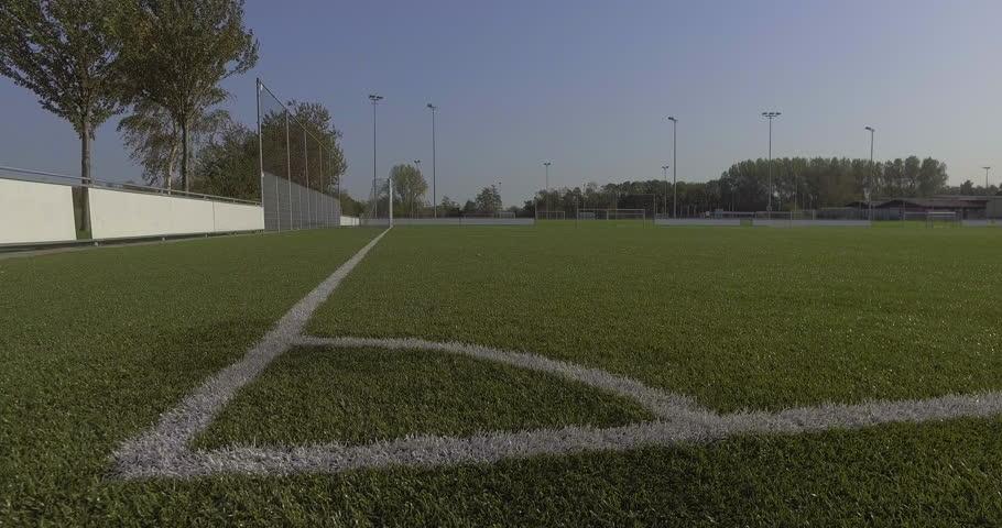 Shot of corner flag at sports field, football field / soccer