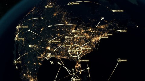 Flight Paths Over North America. North American Air Routes. Flight Connections. Global Communications - Destinations all over the World. Airport International Connectivity. City Lights and Names. 4k.