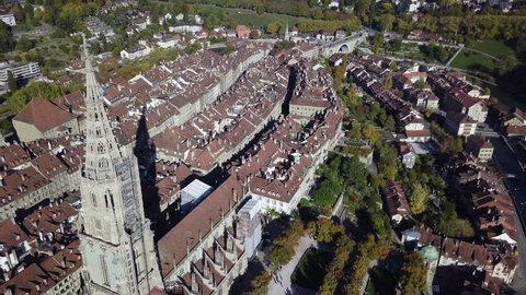 Aerial view of Bern old town, Switzerland.  Bern is the de facto capital of Switzerland. In 1983, the historic old town in the centre of Bern became a UNESCO World Heritage Site