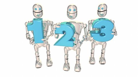 123 Easy Simple Steps Process System Robot Numbers 3d Animation