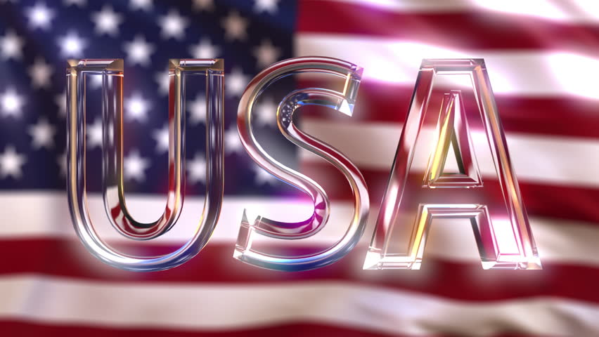 Rotating glass USA caption against waving American flag. Loopable motion background or intro animation | Shutterstock HD Video #31902697