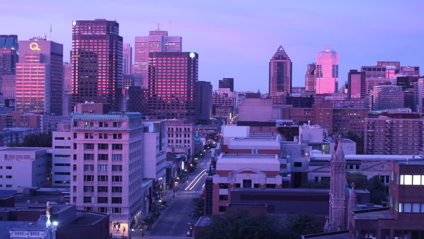 Time lapse sequence of a fall sunrise in downtown Montreal
