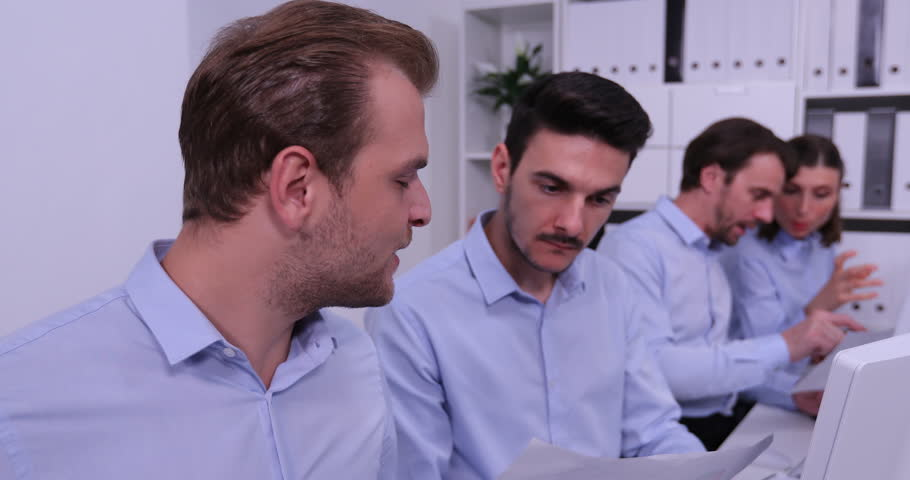 Business Men Positive Talk About Financial Data from Computer Partnership Office | Shutterstock HD Video #31911580