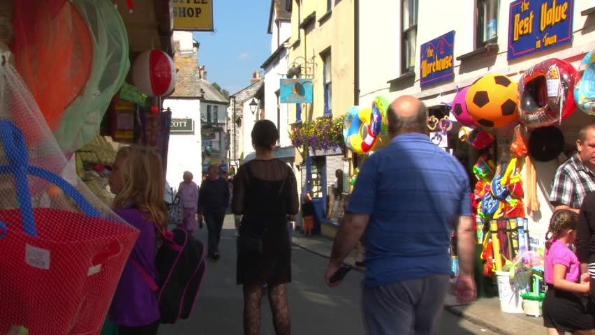 LOOE, ENGLAND - CIRCA 2011: Tourist and beach shops in East Looe in Cornwall.