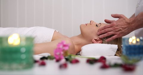Blonde Customer Woman Receive Facial Body Massage Luxury Health Beauty Spa Club
