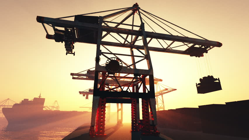 Industrial Port 3 Sunset Sunrise 3D render