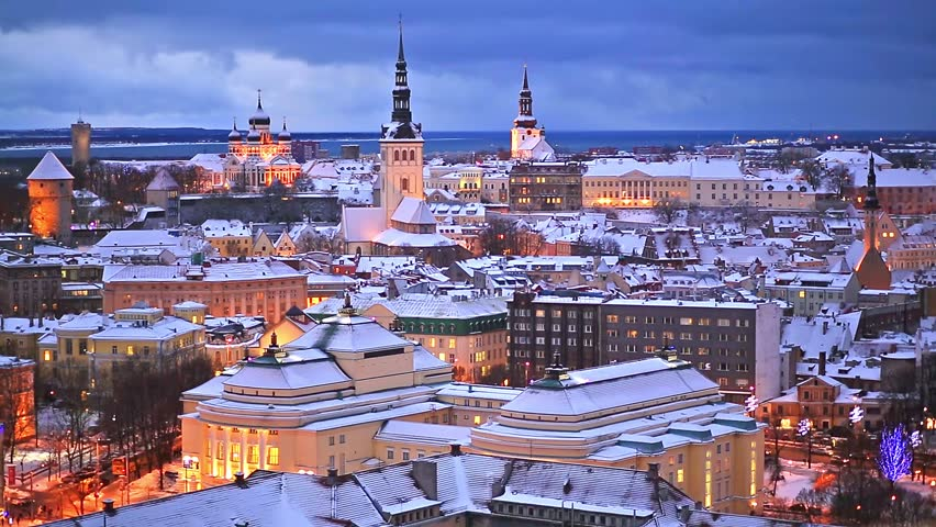 Wonderful winter night aerial scenery of the Old Town in Tallinn, Estonia