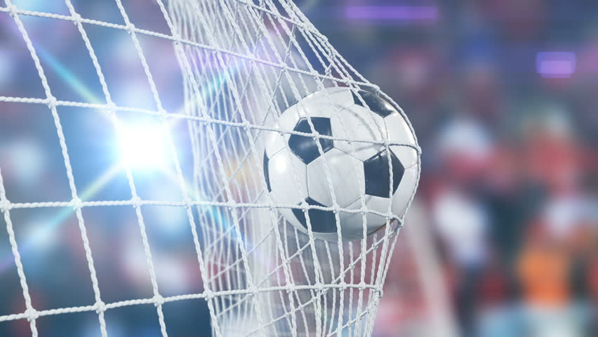 Beautiful Soccer Slow Motion Concept of the Ball flying into Goal Net. 3d animation Close up Sport Concept. 4k UHD 3840x2160. #31956967