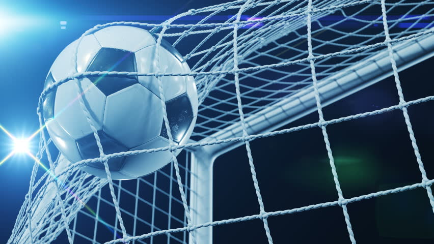 Beautiful Soccer Slow Motion Concept of the Ball flying into Goal Net. Fans taking pictures with flashes. 3d animation Close up of the Goal Moment. 4k UHD 3840x2160. | Shutterstock HD Video #31968187