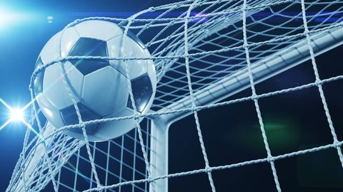Beautiful Soccer Slow Motion Concept of the Ball flying into Goal Net. Fans taking pictures with flashes. 3d animation Close up of the Goal Moment. 4k UHD 3840x2160.