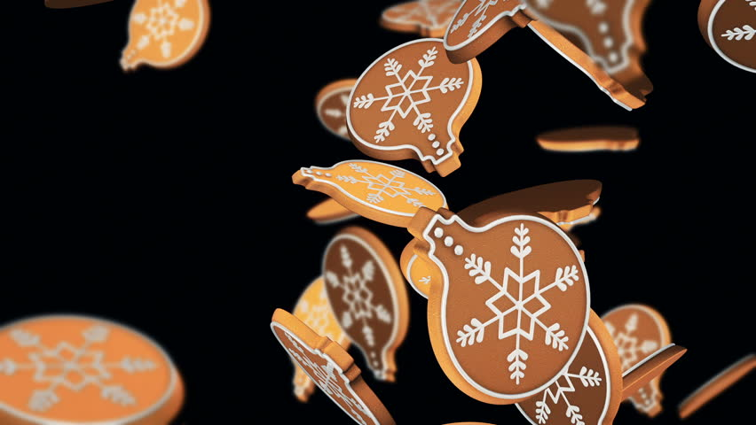 Animation of falling christmas cookies as snowflakes, christmas balls for decoration, christmas tree, christmas candies, stars and Gingerbread on colorful background. Animation of seamless loop.