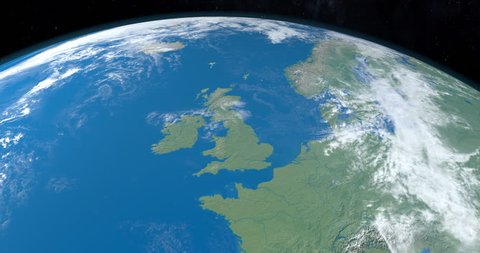 Animation of British Islands, Great Britain, Ireland, isle of Man, Shetland Islands, Outer Hebrides, Orkeney Islands, Wight Island, Anglesey, in planet earth, view from outer space.