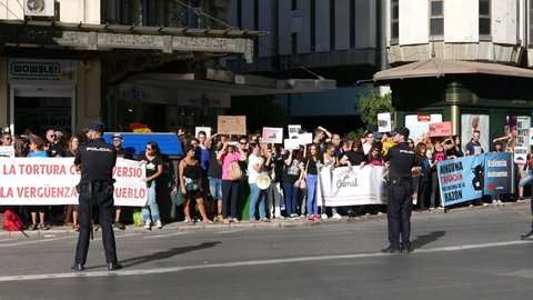 VALENCIA, SPAIN - OCTOBER 9, 2017: Unidentified protesters in an anti bullfighting demonstrating in the streets of Valencia. Bullfighting currently takes place in nine countries around the world.