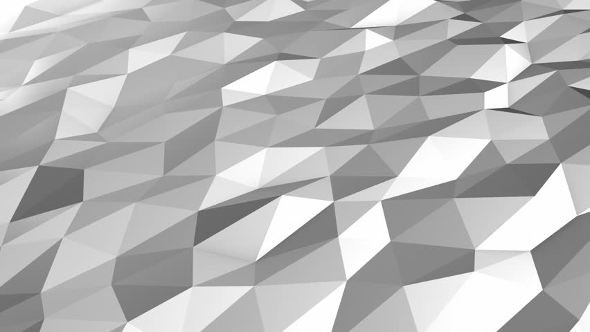 Grey white low polygonal motion loop. Background motion design, seamless looping. HD resolution. 10 seconds.