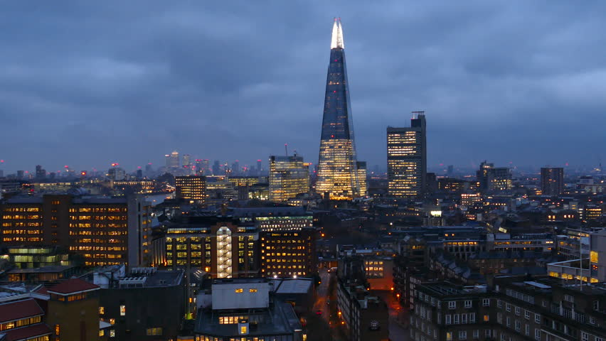 Footage Of Business Center Cityscape With  In London, UK At Night.   Shutterstock HD Video #32032387