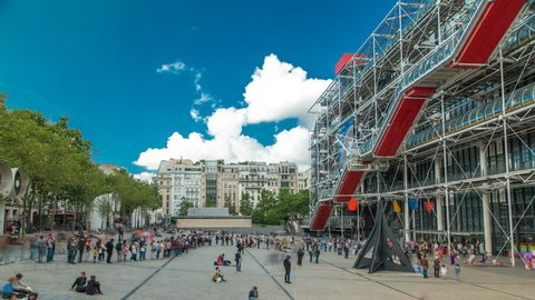 PARIS, FRANCE - CIRCA JULY 2017: Facade of the Centre of Georges Pompidou timelapse in Paris, France. The Centre of Georges Pompidou is one of the most famous museums of the modern art in the world.