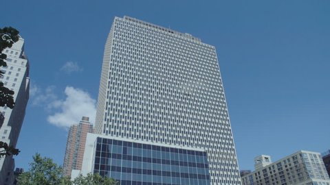 NEW YORK CITY- AUG 2017:Daytime DX Establishing shot CV of Jacob J Javits Federal Office Building. Home to FBI field office civic center USA. Shot good for crime, mystery tv shows movies. ProRes HQ
