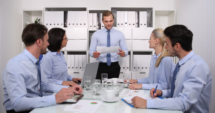 Happy Business Team Applaud Good Results Pie Chart Give by Manager in Boardroom | Shutterstock HD Video #32076487