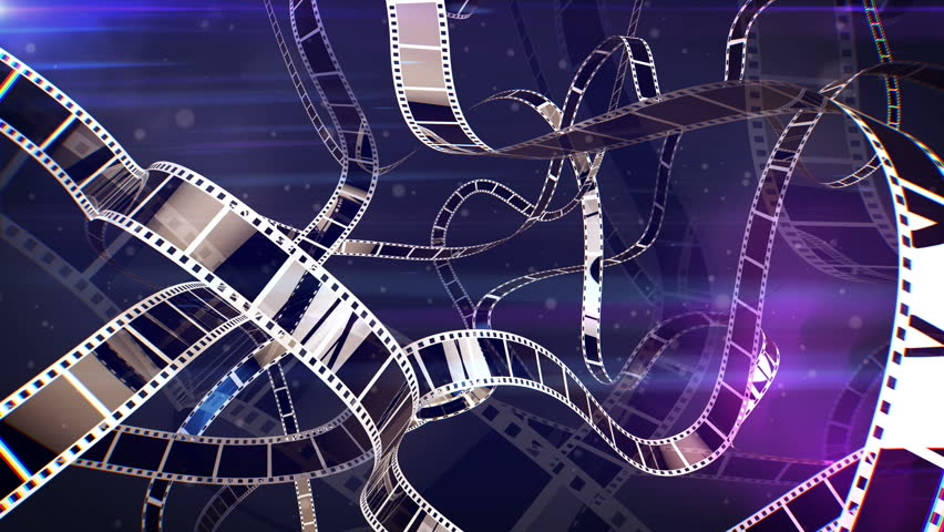 An impressive 3d rendering of a violet and white cinematographic film tape movement. The film tape turns around in a curvy reel looking way. It looks as if it is inside of a film projecter.