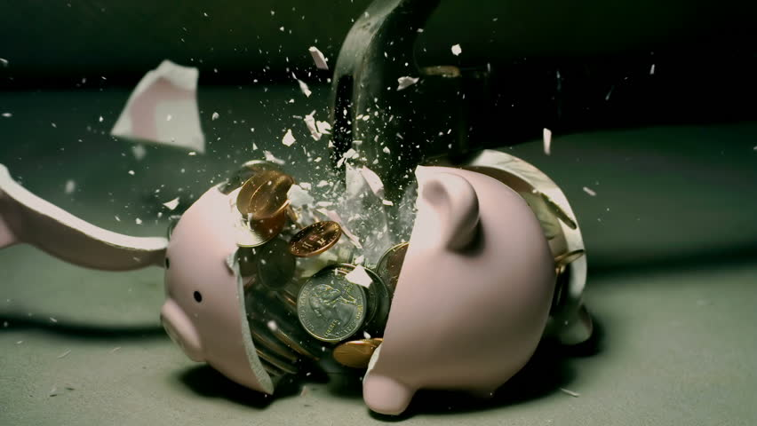 Piggy Bank Hit With Hammer Super Slow Motion 2000fps #32079937