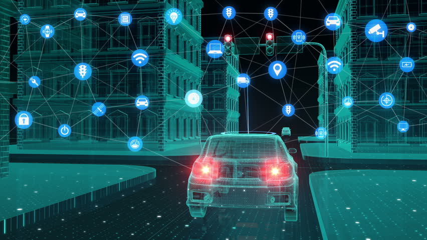 IoT car connect traffic information graphic icon control system, Internet of things concept. | Shutterstock HD Video #32093674